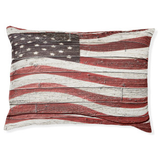 Bandera americana pintada en textura de madera cama para perro grande