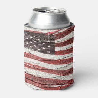 Bandera americana pintada en textura de madera enfriador de latas