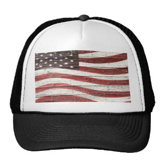Bandera americana pintada en textura de madera gorra