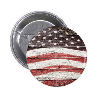 Bandera americana pintada en textura de madera pin redondo de 2 pulgadas