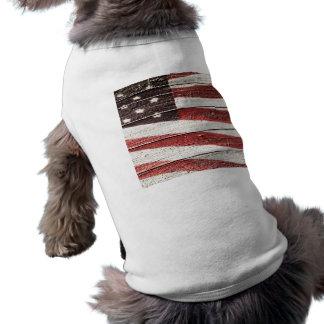 Bandera americana pintada en textura de madera playera sin mangas para perro