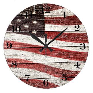 Bandera americana pintada en textura de madera reloj redondo grande
