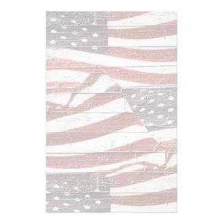 Bandera americana pintada en textura de madera rús papelería de diseño
