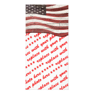 Bandera americana pintada en textura de madera tarjetas personales con fotos
