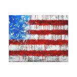 Bandera americana pintada lona envuelta para galerías