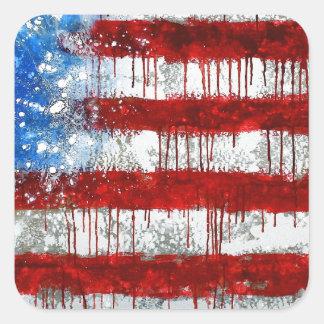 Bandera americana pintada pegatina cuadrada