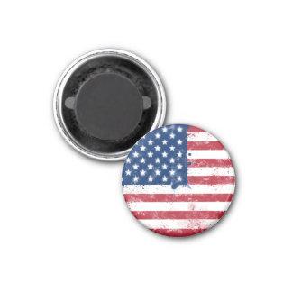 Bandera americana pintada salpicadura imán redondo 3 cm