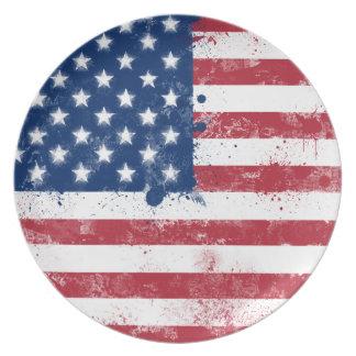 Bandera americana pintada salpicadura plato de cena