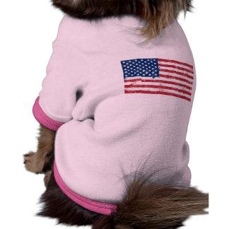 Bandera americana pintada salpicadura camisetas de perrito