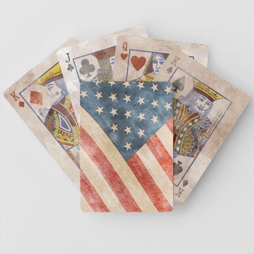 Bandera americana pintada vintage de la mirada cartas de juego