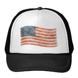 Bandera americana pintada vintage de la mirada gorras de camionero