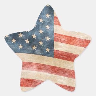 Bandera americana pintada vintage de la mirada pegatina en forma de estrella