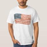 Bandera americana pintada vintage de la mirada polera