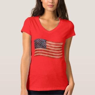 Bandera americana pintada vintage de la mirada remera