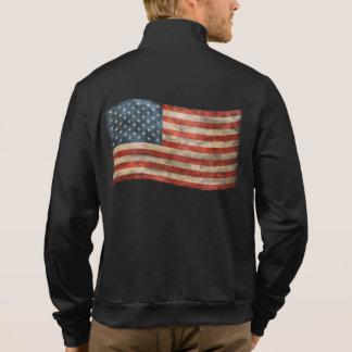 Bandera americana pintada vintage de la mirada sudaderas imprimidas con cremallera