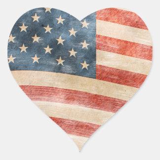 Bandera americana pintada vintage pegatina en forma de corazón