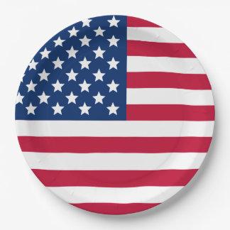Bandera americana plato de papel 22,86 cm