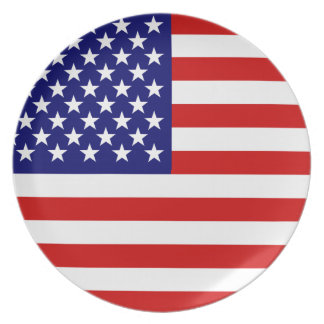 Bandera americana plato de cena