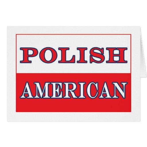 Bandera americana polaca tarjeta de felicitación