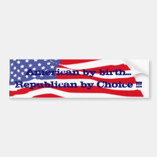 ¡bandera, americana por el republicano del nacimie pegatina para auto