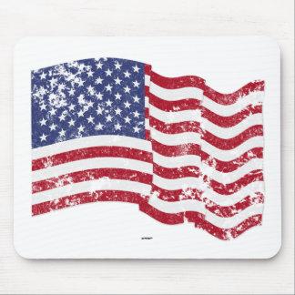 Bandera americana que agita - apenada alfombrillas de ratones