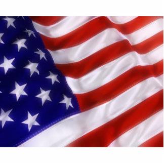 Bandera americana que agita esculturas fotográficas