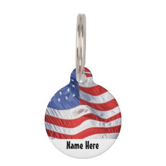 Bandera americana que agita patriótica placa de mascota