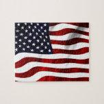 Bandera americana que agita puzzles