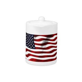 Bandera americana que agita