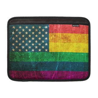 Bandera americana rasguñada del arco iris del orgu funda para macbook air