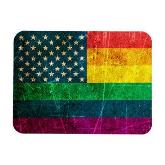 Bandera americana rasguñada del arco iris del orgu iman flexible