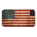 Bandera americana rasguñada y llevada del vintage Case-Mate iPhone 4 cárcasa