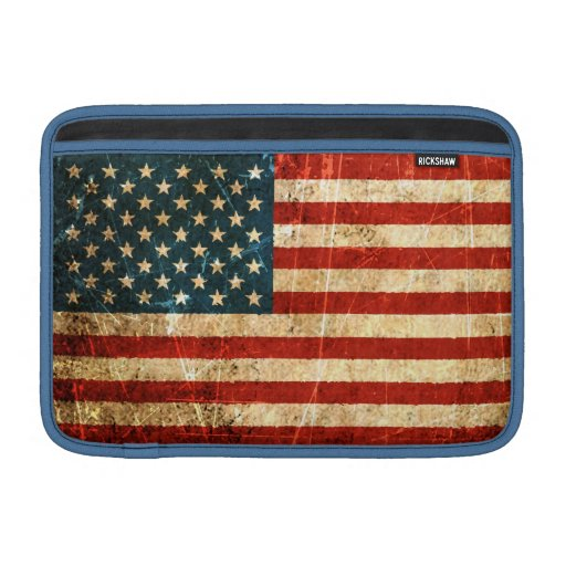 Bandera americana rasguñada y llevada del vintage funda macbook air