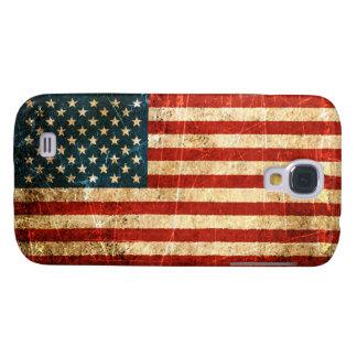 Bandera americana rasguñada y llevada del vintage funda para galaxy s4