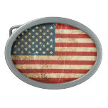 Bandera americana rasguñada y llevada del vintage hebilla cinturon oval