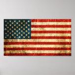 Bandera americana rasguñada y llevada del vintage impresiones