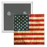 Bandera americana rasguñada y llevada del vintage pins