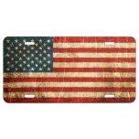Bandera americana rasguñada y llevada del vintage placa de matrícula