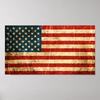 Bandera americana rasguñada y llevada del vintage póster