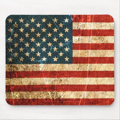 Bandera americana rasguñada y llevada del vintage tapetes de ratones