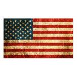 Bandera americana rasguñada y llevada del vintage tarjetas de visita
