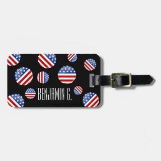 Bandera americana redonda brillante etiquetas maleta