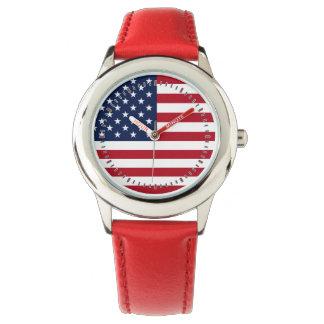 Bandera americana reloj de mano