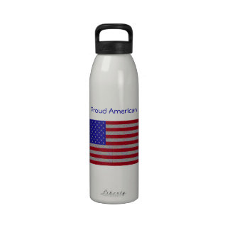 Bandera americana reluciente botallas de agua