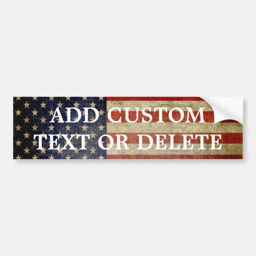 Bandera americana resistida, apenada etiqueta de parachoque