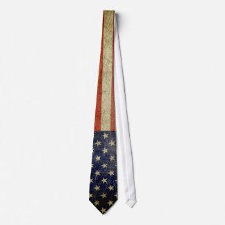 Bandera americana resistida, apenada corbata personalizada