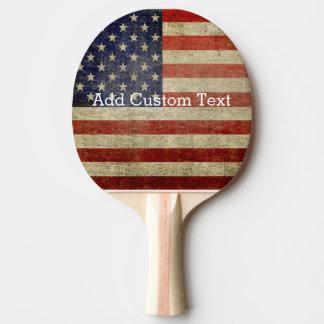 Bandera americana resistida, apenada pala de tenis de mesa