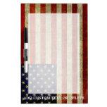 Bandera americana resistida, apenada pizarras blancas de calidad