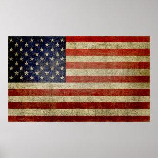 Bandera americana resistida, apenada póster