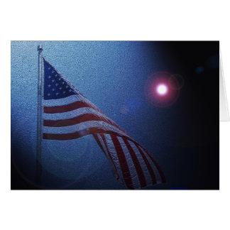 ¡Bandera americana!  ¡Resplandor del rojo de Rocke Felicitación